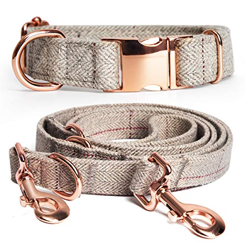 """Barkless Heavy Duty Dog Collar and Leash Set, Multifunctional Stylish Design with Rose Gold Set, Comfortable and Hardwearing for Small Medium Large Dogs (M(13.8""""-19.7""""), Beige)"""