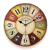 qwertyuio リビングルームの壁時計木製の壁時計、大きなアラビア数字の14インチのカラフルなヴィンテージフランス時計、リビングルームの装飾時計、寝室、キッチン、オフィス、ラウンジ、ホテル、カフェ