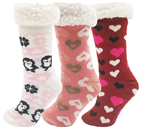 Sherpa Lined Slipper Socks, 3 Pairs for Women, Fluffy Christmas Winter Patterned with Gripper Bottoms, Warm Soft (Hearts)