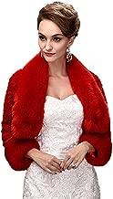 Oncefirst Women's Winter Faux Fur Wedding Jacket for Bride Wrap Shawl Bolero Jacket