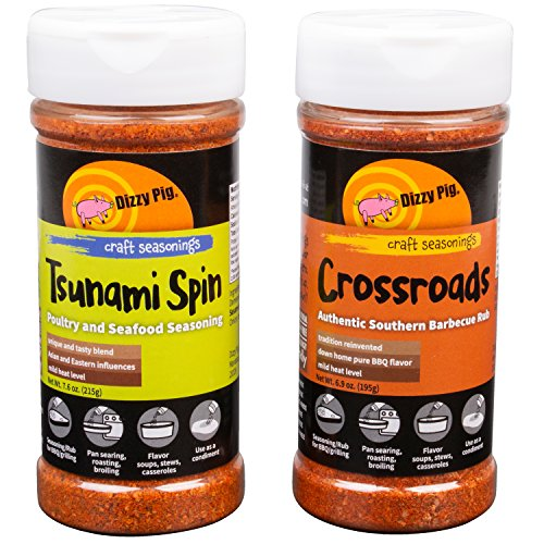Dizzy Pig BBQ Tsunami Spin and Crossroads Chicken / Poultry Rub Spice - Set of 2 - All Natural and Gluten free
