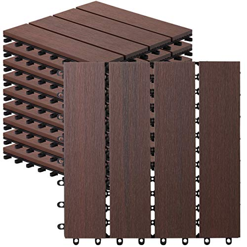 10 Count Interlocking Wood Plastic Compsoite Patio Deck Tiles Decking by CR Home (Kentucky Umber)