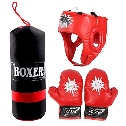 Kinder Hängen Kampf Training Boxen Sandsack Handschuhe Helm Kinder Boxsack Kinder Boxen Geschenkset zum Üben von Karate, Taekwondo, MMA, Kinder Erwachsene Boxspielzeug