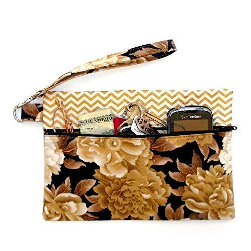 Brown Floral Clutch Wristlet Makeup or Gift Holder for Phone Spasm price Courier shipping free shipping H