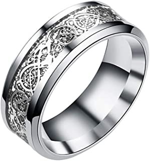 Wogo Titanium Steel Ring European And American Style Gold And Silver Dragon Pattern Ring