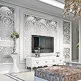Rollo de papel pintado 3D, diseño moderno y lujoso, hojas de acanto, papel pintado de pared para hoteles, lámpara de techo, salón o dormitorio (0,53 x 9,5 m)