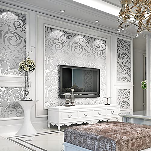 3D Tapete Geprägte Roll Modernes Luxuriöse Design Akanthusblätter Muster Tapeten Wanddekoration für Hotels,Deckenleuchte,Wohnzimmer Schlafzimmer (0.53 x 9.5m)