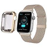 HILIMNY Kompatibel mit Apple Watch Armband mit Hülle 38mm 40mm 42mm 44mm, Edelstahl Netz Schlaufen Armband mit Bildschirmschutz Schlankes für iWatch Series 5 4 3 2 1