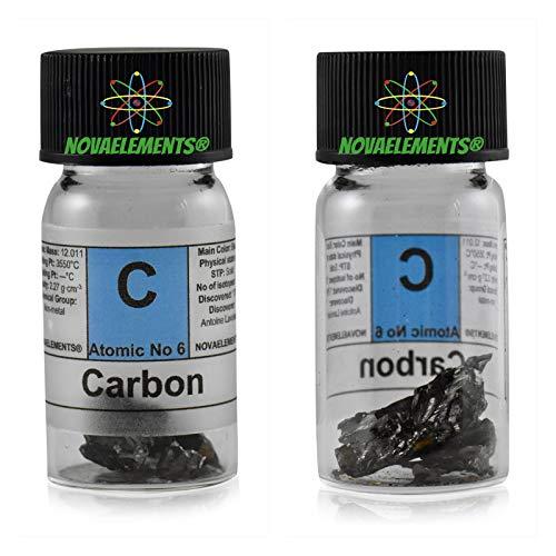 Koolstof Amorfo element 6C solide, 99,9% 1 gram in glazen bloem met etiket