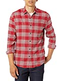 Amazon Essentials Men's Regular-Fit Long-Sleeve Flannel Shirt, Red/Grey Plaid, X-Small