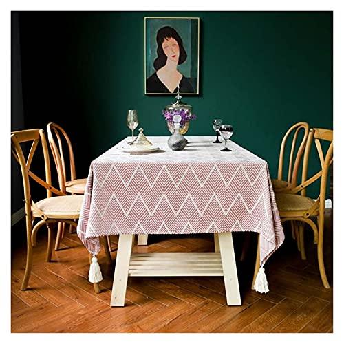 Accesorios para sala de estar Mantel Onda Decorativa Cuotton Lino/Rectangular/Borla Mantel Impermeable Grueso Cubierta de mesa de comedor para bodas/Abrigo Té/Paño de mesa auxiliar (Color: