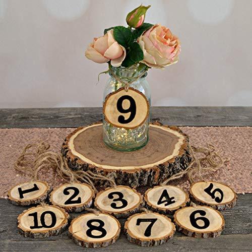 Rustikale hölzerne Hochzeit Original Baum Stück,1-10 digitale Tischnummer hängende Ornament Dekoration,für Diy Hochzeit Graduierung Geburtstag Bankett Dinner Parties,hochzeitsdekoration tisch (Gelb)