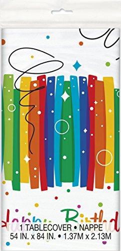 Kunststoff-Tischdecke - 2,13 m x 1,37m - Regenbogenbänder-Geburtstagsfeier