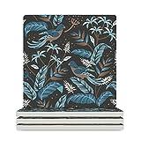 Raainhao Quadratische Untersetzer aus Keramik, mit Vogelmotiv, perfekt als Geschenk, Kork-Rückseite, Weiß, 4 Stück