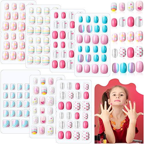 168 Stücke Mädchen Drücken Nägel 7 Tage Gefälschte Nägel Künstliche Nagelspitzen Kinder Volle Abdeckung Kurze Falsche Fingernägel für Mädchen Kinder Nagel Kunst Dekoration, 7 Boxen (Rosa und Blau)