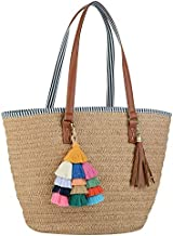 COOFIT Straw Purse, Straw Beach Bag Pompom Shoulder Bag Summer Woven Bags