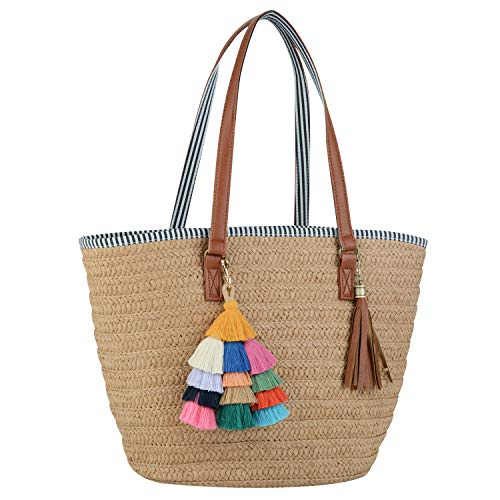 COOFIT Straw Purse, Straw Beach Bag Pompom Shoulder Bag Summer Woven Bags