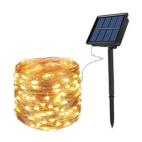 Ankway Catena Luminosa Solare, 200 LED Luci Solari Esterno 8 Modalità IP65 Impermeabile Luci Decorative Per Giardino, Natale, Patio, Cancello, Cortile, Matrimonio, Festa (Bianco caldo)