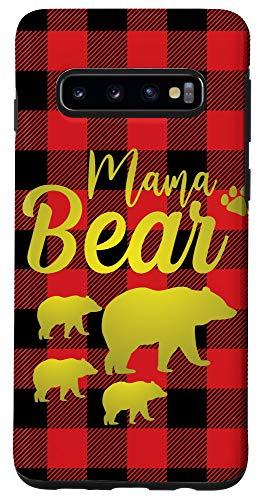 Galaxy S10 Mama Bear Three Cubs Case Plaid Buffalo Mothers Day Case