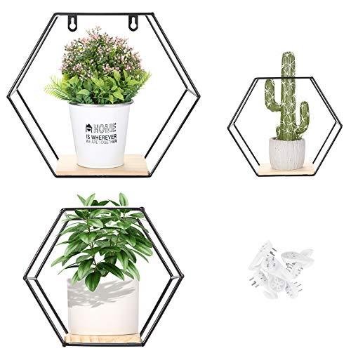 Juego de 3 estanterias, Liesun baldas Pared hexagonales, estanteria Pared, estantes de Pared, estanteria baño Pared, estanteria casita, estantería de Pared, estanterias hexagonales.