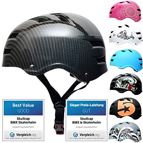 SkullCap BMX & Casco per Skater Casco - Bicicletta & Monopattino Elettrico, Design: Carbon, Taglia: 55-58 cm