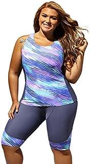 ZKESS Women Swim Pant Capris Tankini Top 2 Pcs Boyleg Shorts Athletic Swimsuit Unitard Swimwear 3XL Size Grey [並行輸入品]