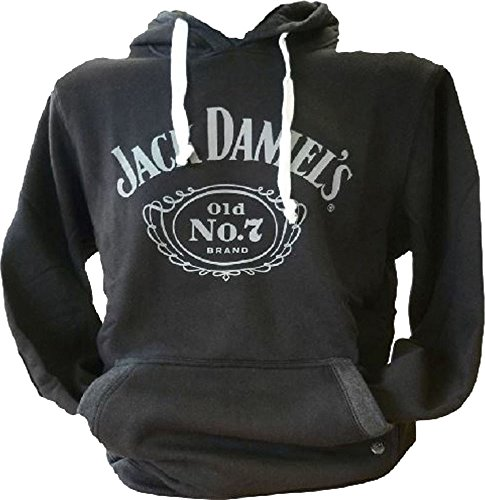 Jack Daniel's Old No.7 Hoody Casual Wear Vordertasche, Kapuze, Schwarz - Schwarz - Schwarz, S