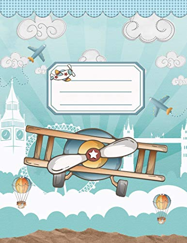 Kindergarten writing paper with lines for ABC and 123 Airplane design: Primary...