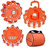 Tobfit 3 Pack LED Road Flares Emergency Lights Roadside Safety Beacon Disc Flashing Warning Flare Kit with Magnetic Base & Hook for Car Truck Boats | 9 Flash Modes (Batteries Not Included) (3)