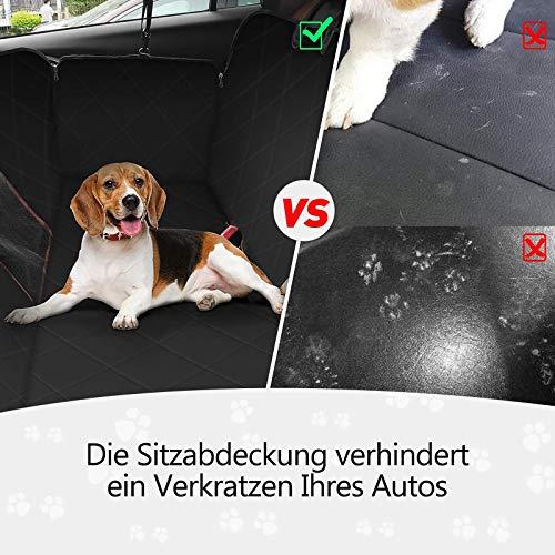 OMORC Hundedecke Autoschondecke, Wasserdichte Hundedecke für Auto Rückbank, 4-Lagigen Rutschfeste Design mit Sicherheitsgurt Sichtfenster für Auto/Van/SUV - 3