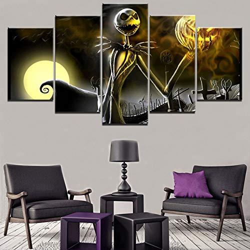 zzlfn3lv Cuadro en Lienzo Schilderij 5 Cosas Begraafplaats Halloween Vakantie Jack Skellington Skelet Foto Moderne Home Deco Art Poster-Sin Marco