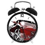 77 xiochgzish Digital alarm clock Teen Room Automotive Vivid Toned Car Back View Prestige Passion Ruby Suitable for office bedroom study