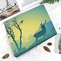 新しい ipad pro 11 2018 ケース スリムフィット シンプル 高級品質 手帳型 柔らかな内側 スタンド機能 保護ケース オートスリープ 傷つけ木と鳥の霧のシルエットの装飾的なパノラマの牧草地に雄鹿鹿