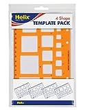 Helix - Maschere per il tracciamento di figure geometriche, per misurazione, matematica, geometria, chimica, disegno e tecnologia, confezione da 4 pezzi