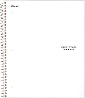 """Five Star Spiral Notebook, 1 Subject, Wide Ruled Paper, 100 Sheets, 10-1/2"""" x 8"""", White (72877)"""