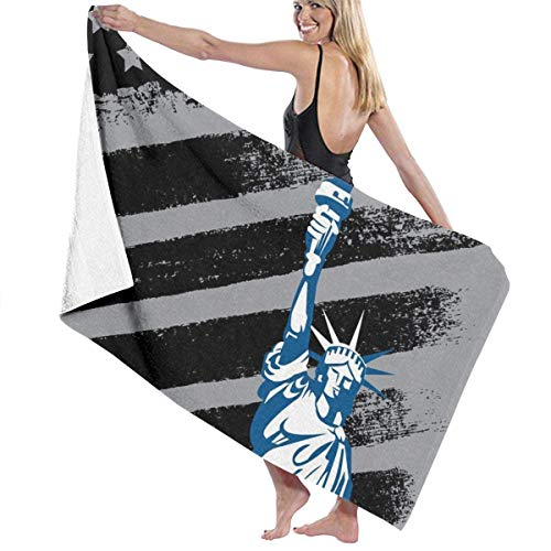 Diseño americano negro con la bandera de la estatua de la libertad Toallas de playa compactas Toallas de piscina absorbentes para adultos, niñas, mujeres, niños, 80 x 130 cm / 32 x 52 pulgadas