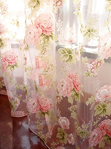 Rod Pocket Sheer Curtain, Elegant 2 Pieces - Total Size 120 Inch Wide (60 Inch Each Panel), Natural Light Flow, Pink Flower (84-in L)