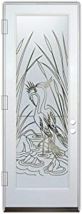Glass Front Entry Door Sans Soucie Art Glass Cranes & Cattails
