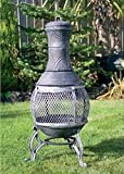 New Cast iron 89cm Stone Grey Chimenea fire pit Ideal for decking & patio areas.