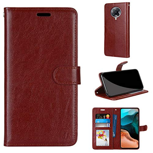 LMFULM® Hülle für Xiaomi Redmi K30 Pro / K30 Pro Zoom (6,67 Zoll) PU Leder Magnet Brieftasche Lederhülle Handyhülle Stent-Funktion Ledertasche Flip Cover Einfaches Weinrot