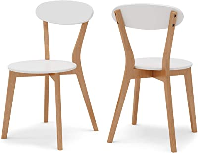 Tribesigns Dining Chairs Set of 2, Assembled Modern Style Dining Room Indoor Chairs with Solid Wood Legs, Side Chairs for Kitchen, Dining, Bedroom, Living Room (White)
