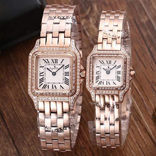Luxury Uomo Donna Orologio Quarzo Sapphire Acciaio Inossidabile Oro Rosa Argento Bianco Nero 2 Righe Diamanti Luminoso LimitatoDonne 22mm Rose Gol