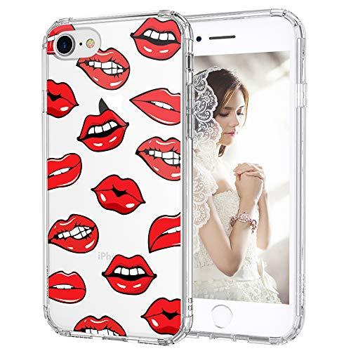 MOSNOVO iPhone SE 2020 Case, iPhone 8 Case, iPhone 7 Case, Sexy Lips Pattern Printed Clear Design Transparent Plastic Back Case with TPU Bumper Case Cover for iPhone 7 / iPhone 8 / iPhone SE 2020