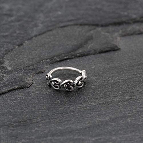 Nose Ring Sterling Silver Indian Unique Boho Ethnic Nose Hoop Piercing Earring Hearts Shaped product image
