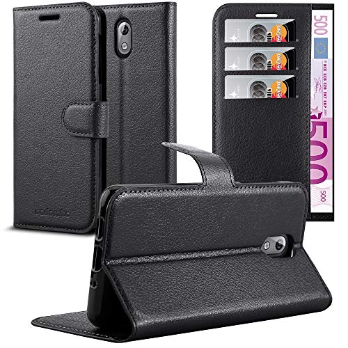 Cadorabo Custodia Libro per Nokia 3.1 2018 in Nero Carbone - con Vani di Carte, Funzione Stand e Chiusura Magnetica - Portafoglio Cover Case Wallet Book Etui Protezione