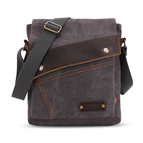 FANDARE Vintage Messenger Bag Umhängetasche Schultertasche Laptoprucksäcke Tasche Crossbody Bag Kuriertasche Frauen Herren Segeltuch Grau