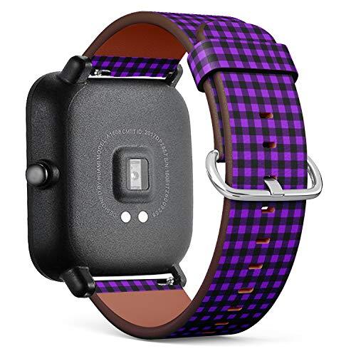 Compatible con Huami Amazfit Bip – Correa de Reloj de Cuero con pasadores de liberación rápida (Buffalo Tartan Plaid Proton púrpura)