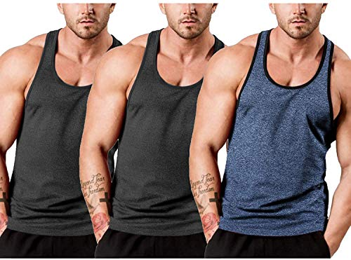 JINIDU Camiseta de tirantes para hombre, sin mangas, para entrenamiento, gimnasio, culturismo, musculación, sin mangas Negro/Negro/Azul Marino L