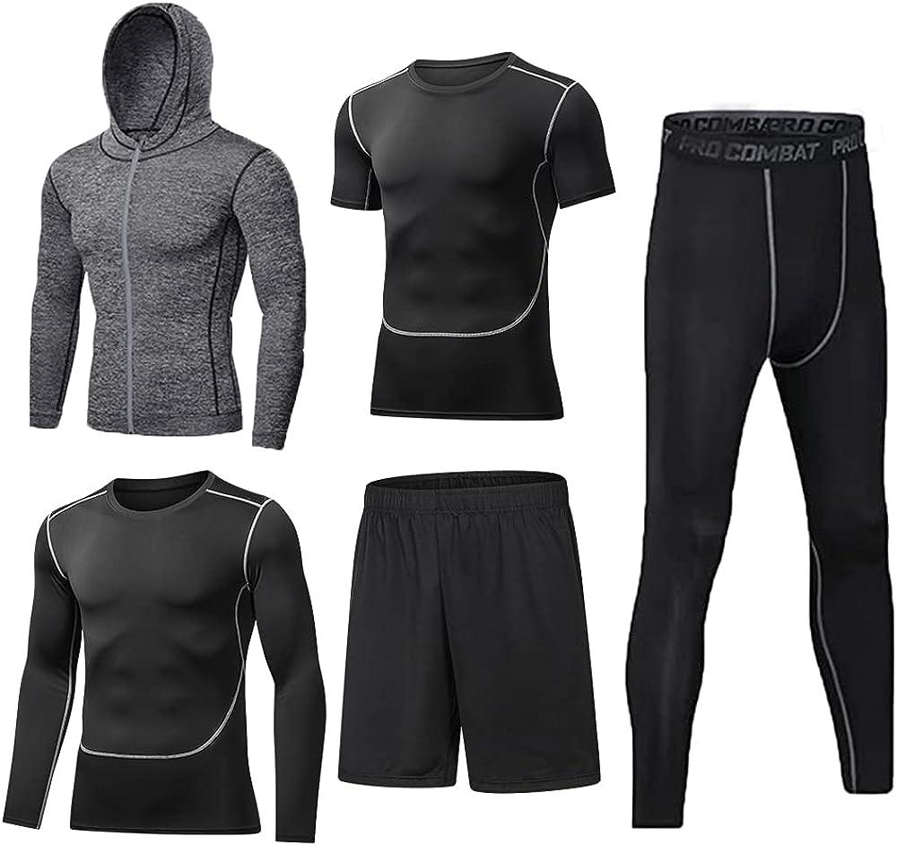 BUYJYA 5Pcs Men's Compression Pants Shirt Top Long Sleeve Jacket Athletic Sets Gym Clothing Mens Workout