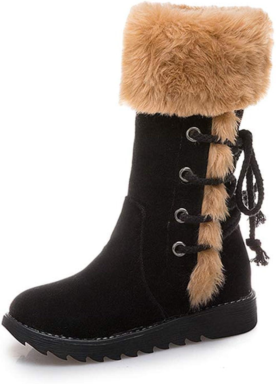 Ghapwe Women's Fur Boots Ladies Winter shoes Zipper Casual Mid-Calf Boots Keep Warm Snow Boots Girl Leg Length Rubber Sole Elegant Reasing Leg Length Girl Fashion Black 6.5 M US shoes
